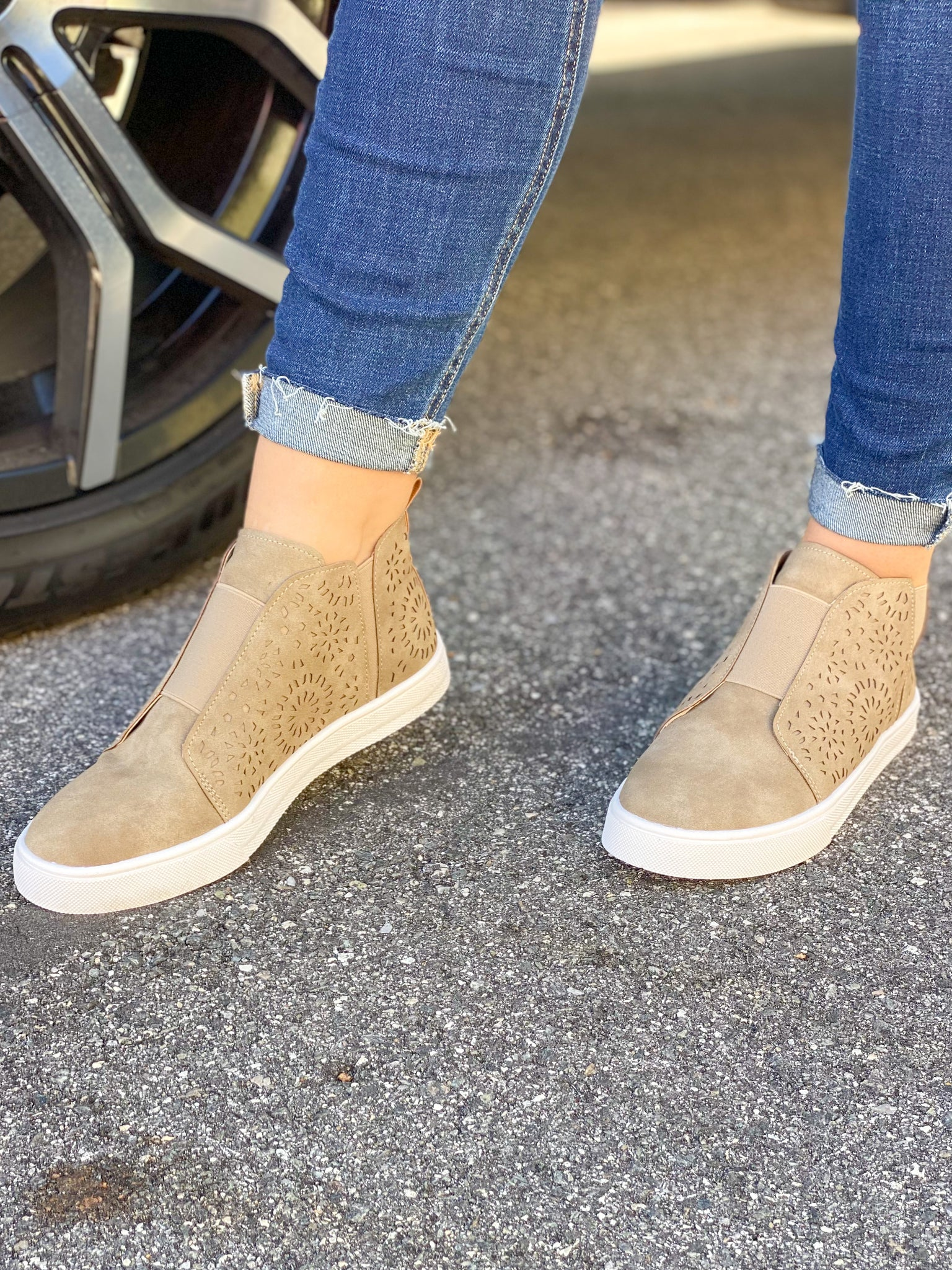 Paisley Suede Sneakers - Taupe