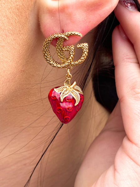 GG Embossed Strawberry Earrings
