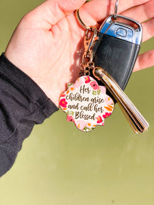 Her Children Arise & Call Her Blessed Keychain
