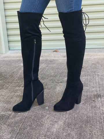 Suede Over The Knee Boots - Black