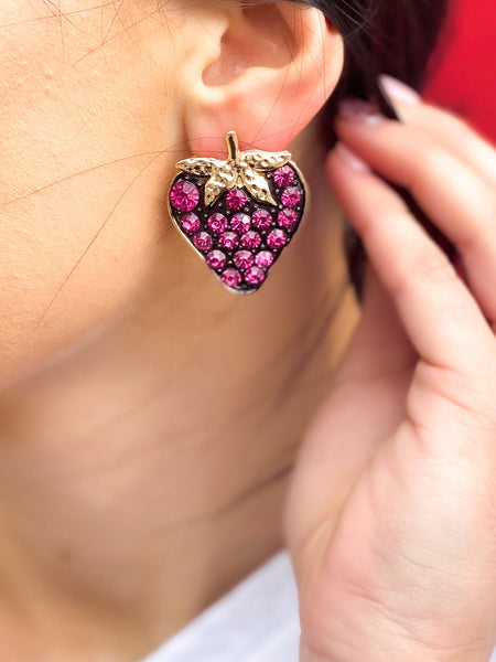 Pink Bling Strawberry Studs