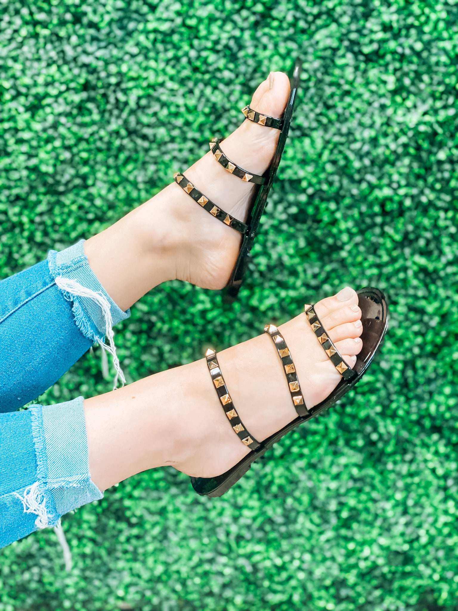 Monica Studded Sandals - Black