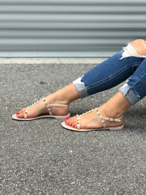 Kasey Studded Sandals - Natural *SIZES 6-8