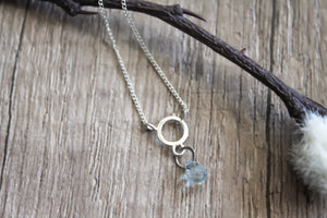 Circle Drop Necklace With Aquamarine Pendant