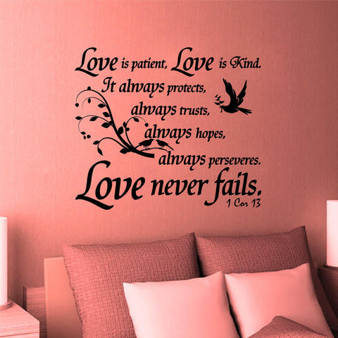 Charming Christian Home Decor. Wall Decal. Bible Scripture: 1 Corinthians 13:4