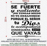 Spanish Wall Decals. Vinilos Decorativos. Versículo de la biblia: Josue 1:9