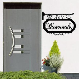 Spanish Wall Decals. Wall Decal. Home Decor. Hanging Sign. Vinilo decorativo Letrero: Bienvenidos.