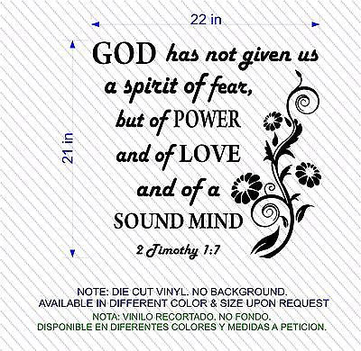 Wall Decal. Bible Scripture: 2 Timothy 1:7 Spirit of Love