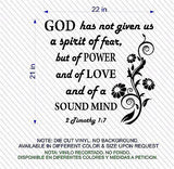 Christian Home Decor. Wall Decal. Bible Scripture:  2 Timothy 1:7 Spirit of Love