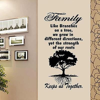 "Tree Wall Decal. Wall Art.  Family. Roots keep us together. 16""W x 32"" H"