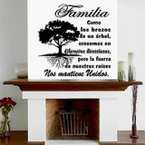 Tree Wall Decal. Wall Art. Sticker. Arbol Familia Unida por sus raices.  20""