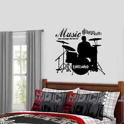 Wall Decal. Custom Wall Decal. Drummer with his or her name.