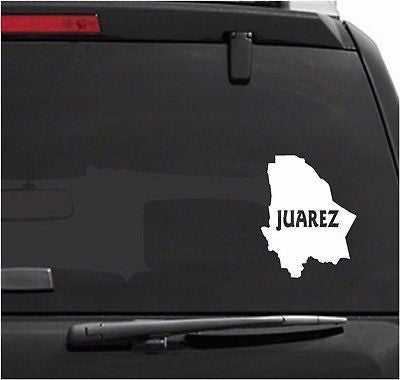 Mexico: Mapa Juarez.  Map. Car Decal - Sticker.