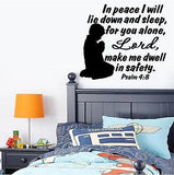 Christian Home Decor. Wall Decal. Bible Scripture: Psalm 4:8. Boy