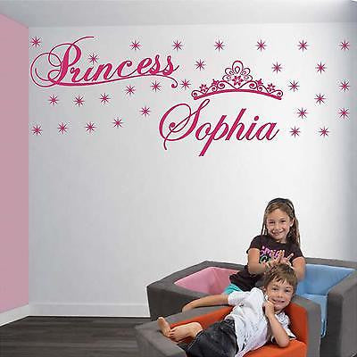 Wall Decal. Nursery Wall Decals. Custom her beauty name. Princess, Tiara, crown.