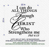 Christian Home Decor. Wall Decal. Bible Scripture:   Phil 4: I Can Do All Through Christ…