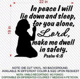 Christian Home Decor. Wall Decal. Bible Scripture:  Psalm 4:8 Girl