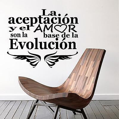 Spanish Wall Decals. Wall Decal. La Aceptacion y el Amor son... Evolucion