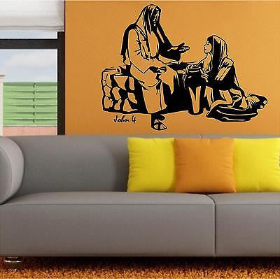 Christian Home Decor. Wall Decal. Bible Scipture. John 4 Jesus and Samaritan.