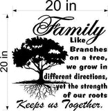 "Tree Wall Decal. Inspirational Decal. Family. Roots keep us together. 20"" W"
