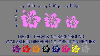 Decals - Stickers. Set of 3 Hibiscus Hawaiian Flower