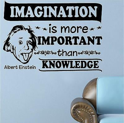 Quotes Decals. Wall Decal. Albert Einstein: Imagination is more important.