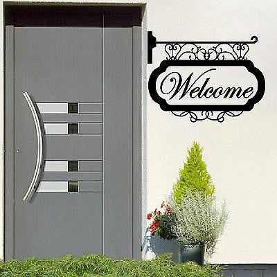 Wall Decal.  Wall Art. Vinyl Decal. Hanging Sign: Welcome. 22""