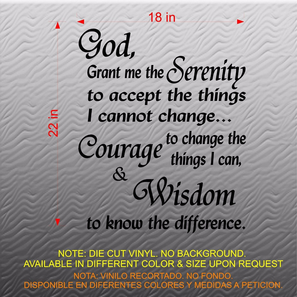 Quotes Wall Decal. Serenity Prayer: God grant me the ...