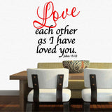 Christian Home Decor. Wall Decal. Bible Scipture. John 15:12 Love each other