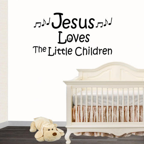 Christian Home Decor. Wall Decal. Jesus Loves The Little Children.  Music Notes.