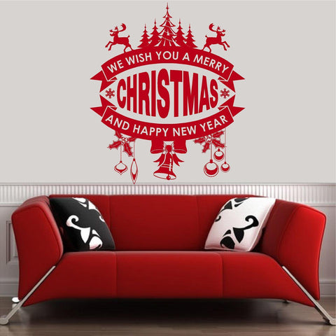 Christmas Decorations. Wall Decal. We Wish you a Merry Christmas & Happy New Year