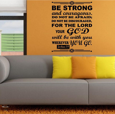 Christian Home Decor. Wall Decal. Bible Scripture:  Joshua 1:9