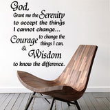 Quotes Wall Decal.  Serenity Prayer: God grant me the Serenity...