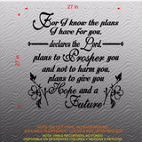 Christian Home Decor. Wall Decal. Bible Scripture: Jeremiah 29:11