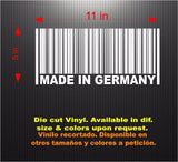 Decals - Stickers. Germany: MADE IN GERMANY Barcode.