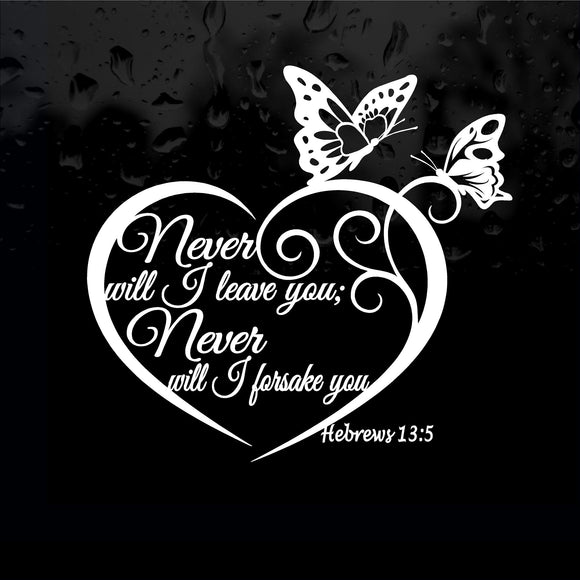 Decal - Religious - Hebrews 13:5 Never Will I Leave You.