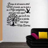 Spanish Wall Decals. Inspirational Wall Decal. Christian Home Decor. Biblia. Juan 3:16