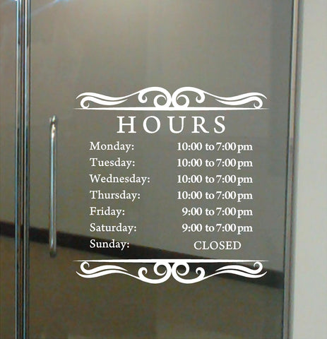Custom Business Hours. Store Hours Decal. Style 1
