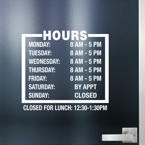 Custom Business Hours. Store Hours Decal. Style 3