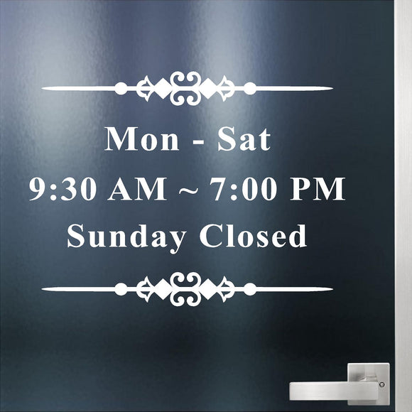 Custom Decal - Business Hours. Store Hours Decal. Style 4