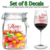 Customize your tableware. Christmas Decoration. Merry Christmas. Happy New Year. Set of 8 Decals.