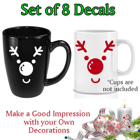 Customize your tableware. Christmas Decoration.  Santa Claus's reindeer Decals. Set of 8 Decals.