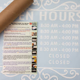 Custom Business Hours. Store Hours Decal. Style 2