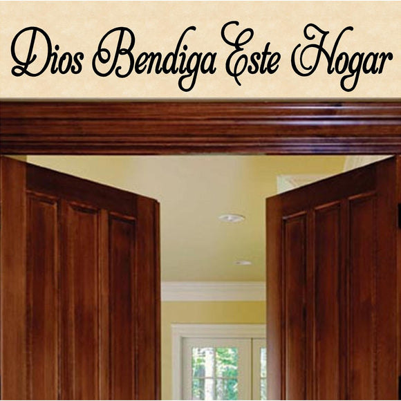 Spanish Wall Decals. Dios Bendiga Este Hogar. Vinilo Decorativo. Wall Decal. (27in x 5in)