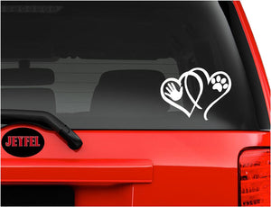 We Love Pets. Car Decals. Laptop Decal... Paw Handprint with hearts, dog cat.