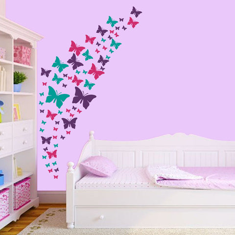 Butterfly Wall Decals- Purple, Pink & Turquoise Set.