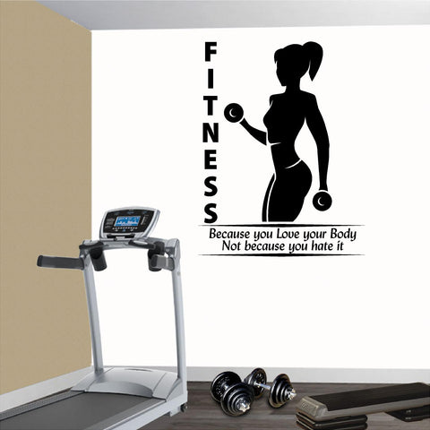 Fitness Wall Decals. Gym. Exercise:  Fitness because you love your body not because you hate it.