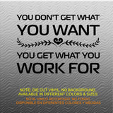 Fitness Wall Decals. Gym. Exercise:  You don't get what you want. You Get what you Work For.