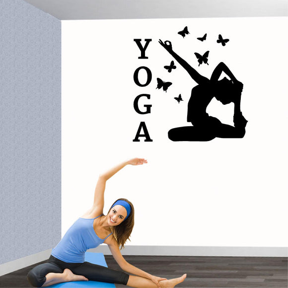 Fitness Wall Decals. Gym. Exercise:  YOGA Pose with butterflies.