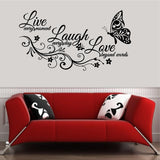 Quotes Decals. Wall Decal. Home Decor. Wall Art Decals.  Live, Laugh and Love.